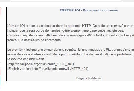 Créer une page d' Erreur 404 pour votre site web B